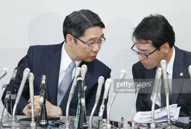 Kihei Maekawa former vice minister of the Ministry of Education Culture Sports Science and Technology speaks to his lawyer during a press conference...