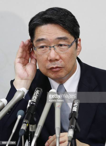Kihei Maekawa former vice minister of the Ministry of Education Culture Sports Science and Technology listens to a question from the media at a press...