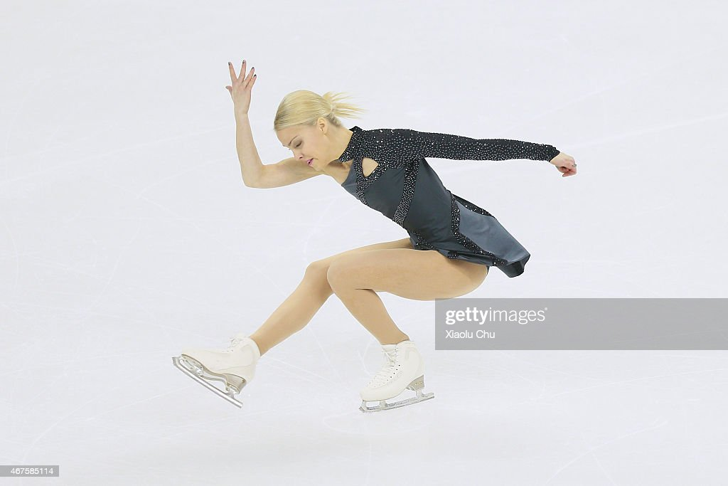 Kiira Korpi of Finland performs during the Ladies Short Program on day two of the 2015 ISU World Figure Skating Championships at Shanghai Oriental...