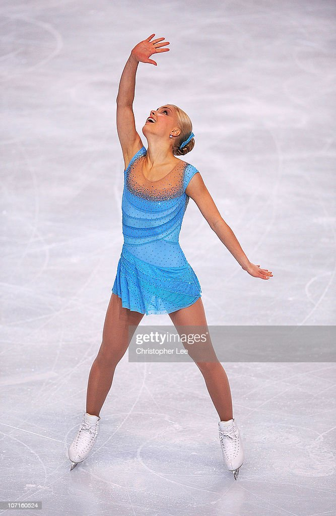 Kiira Korpi of Finland performs in the Ladies Short Program during the ISU GP Trophee Eric Bompard 2010 at the Palais omnisport de Paris Bercy on...