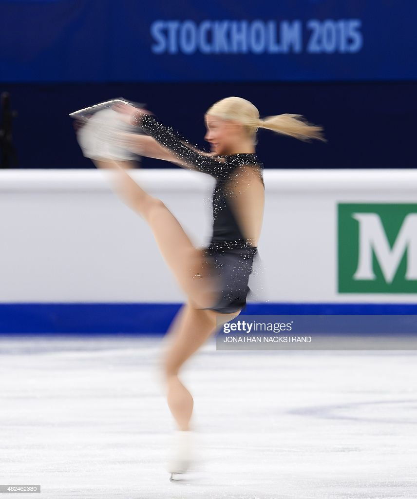 Kiira Korpi of Finland performs on ice during the ladies short program of the ISU European Figure Skating Championships on January 29 2015 in...