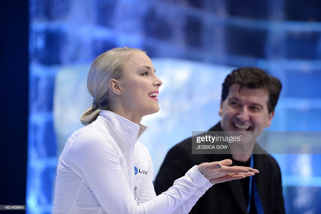 Kiira Korpi of Finland reacts after her short program during the ISU European Figure Skating Championships on January 29 2015 in Stockholm AFP PHOTO...