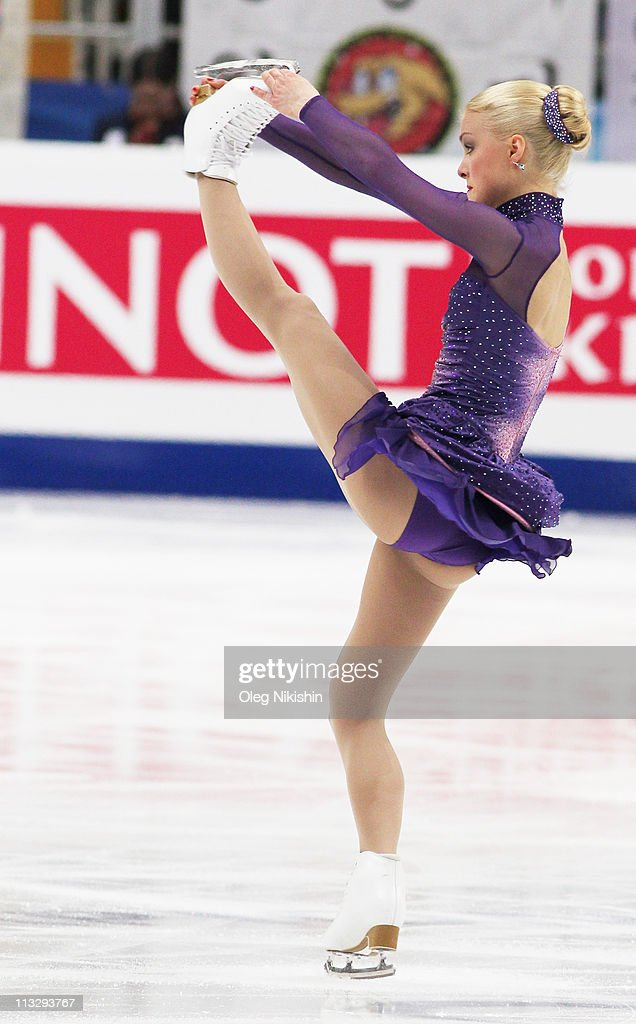 <a gi-track='captionPersonalityLinkClicked' href=/galleries/search?phrase=Kiira+Korpi&family=editorial&specificpeople=728663 ng-click='$event.stopPropagation()'>Kiira Korpi</a> of Finland skates in the Ladies Free Skating during day seven of the 2011 World Figure Skating Championships at Megasport Ice Rink on April 30, 2011 in Moscow, Russia.