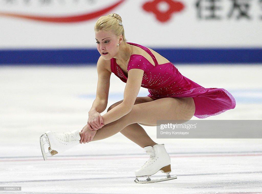 Kiira Korpi of Finland skates in the Ladies Free Skating during ISU Rostelecom Cup of Figure Skating 2012 at the Megasport Sports Center on November...