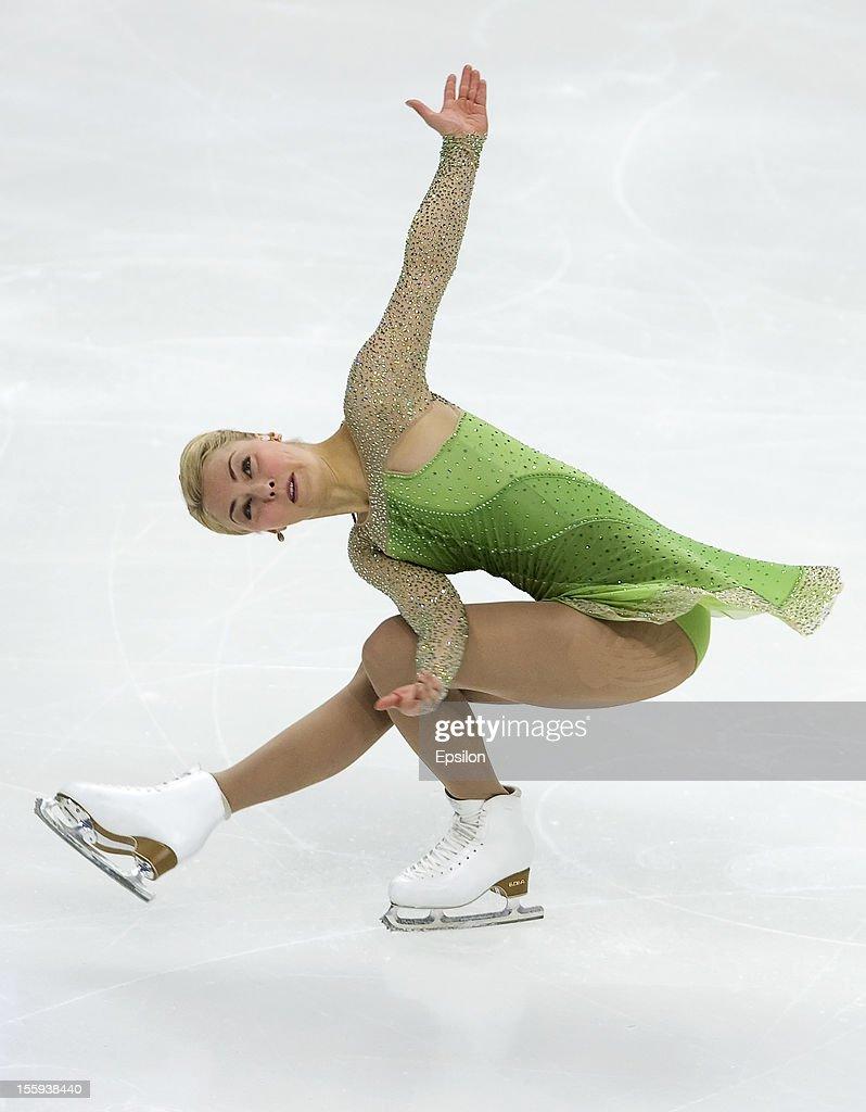 Kiira Korpi of Finland skates in the Ladies Short Program during ISU Rostelecom Cup of Figure Skating 2012 at the Megasport Sports Center on November...