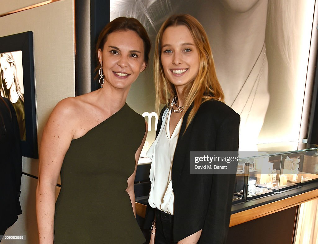 Kika Prette, Creative Director of APM Monaco, and Ilona Smet attend the APM Monaco flagship store opening on South Molton Street on February 11, 2016 in London, England.