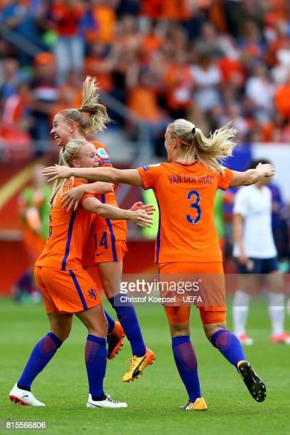 Kika van Es Jackie Groenen and Stephanie van der Gragt of the Netherlands celebrate after winning 10 the UEFA Women's Euro 2017 Group A match between...