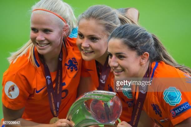 Kika van Es of Holland Women Lieke Martens of Holland Women Danielle van de Donk of Holland Women during the UEFA WEURO 2017 final match between The...