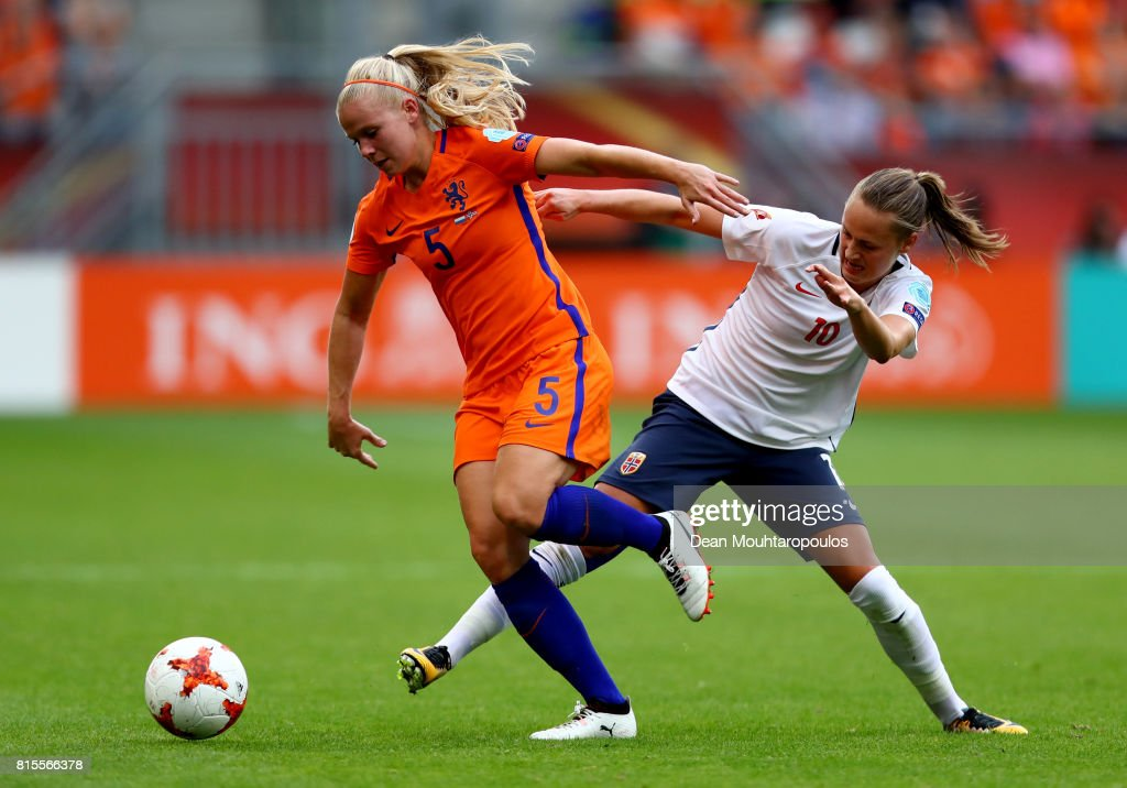 Kika van Es of the Netherlands is tackled by Caroline Graham Hansen of Norway during the Group A match between Netherlands and Norway during the UEFA Women's Euro 2017 at Stadion Galgenwaard on July 16, 2017 in Utrecht, Netherlands.