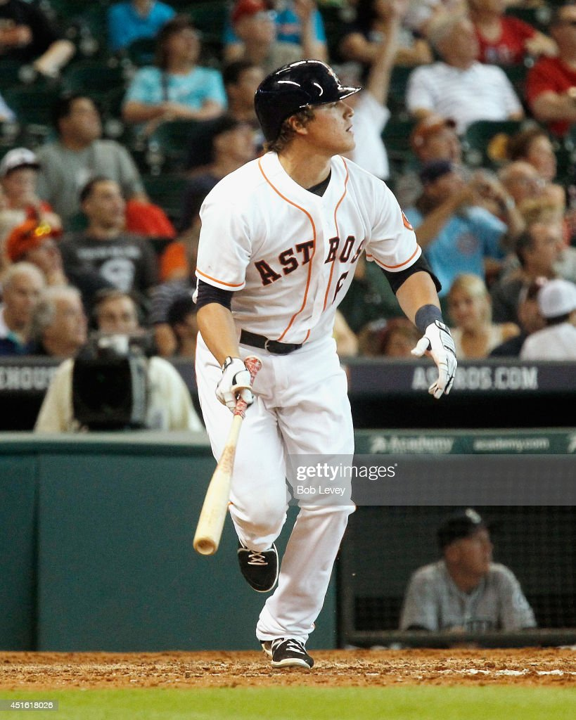 Kike Hernandez #6 of the Houston Astros hits a home run in the fifth inning against the Seattle Mariners at Minute Maid Park on July 2, 2014 in Houston, Texas.