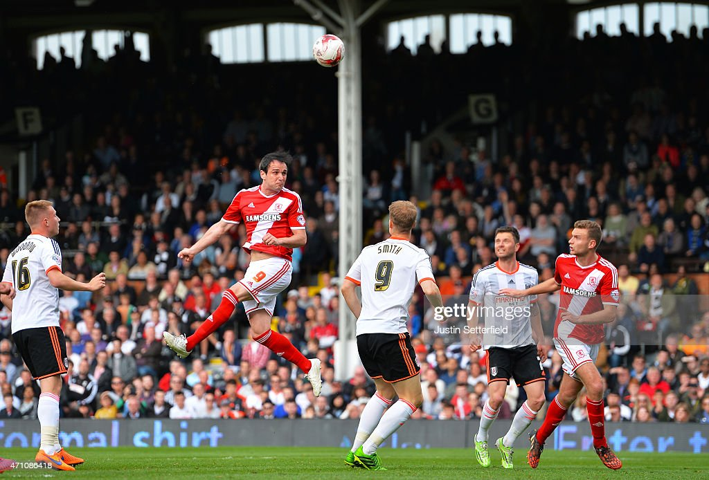Kike of Middlesbrough FC scores Middlesbrough's 3rd goal during the Sky Bet Championship match between Fulham and Middlesbrough at Craven Cottage on April 25, 2015 in London, England.