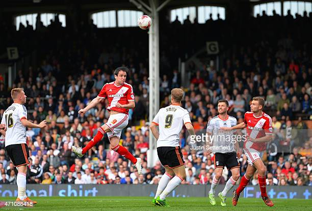 Kike of Middlesbrough FC scores Middlesbrough's 3rd goal during the Sky Bet Championship match between Fulham and Middlesbrough at Craven Cottage on...