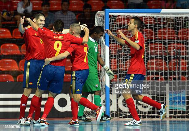 Kike of Spain celebrates with team mates after scoring his teams first goal during the FIFA Futsal World Cup Group B match between Spain and Panama...