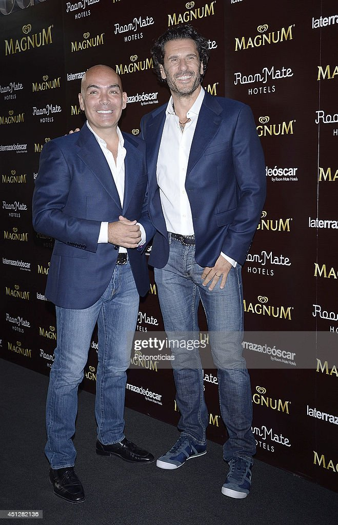 Kike Sarasola and Carlos Marrero attend the 'Chocolate Opening Party By Magnum' at the Room Mate Oscar Hotel on June 26, 2014 in Madrid, Spain.