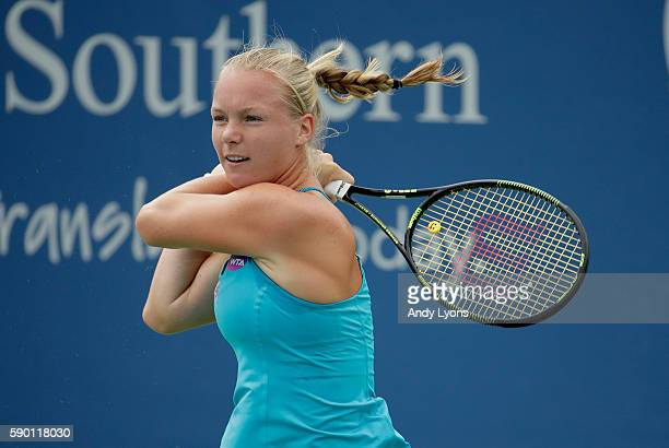 Kiki Bertens of he Netherlands in her match against during the first round on day 4 of the Western Southern Open at the Lindner Family Tennis Center...