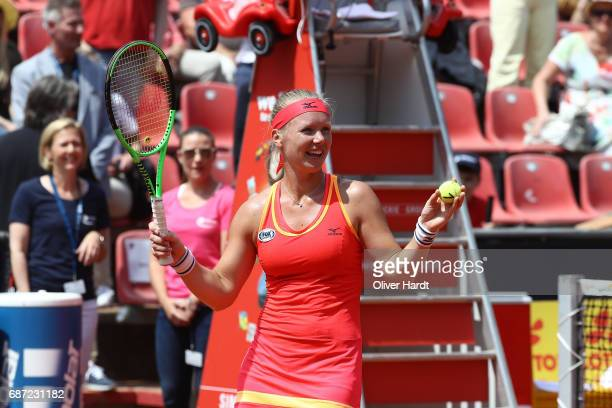 Kiki Bertens of Netherland in action after against Katharina Gerlach in the first round during the WTA Nuernberger Versicherungscup on May 23 2017 in...