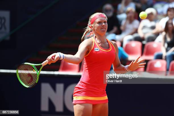Kiki Bertens of Netherland in action after against Katharina Gerlach of Germany in the first round during the WTA Nuernberger Versicherungscup on May...