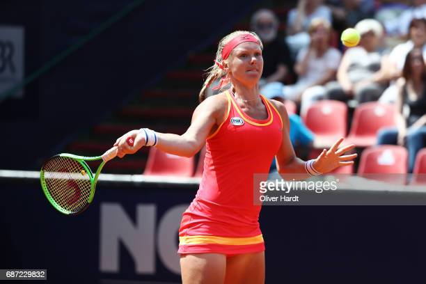 Kiki Bertens of Netherland in action against Katharina Gerlach in the first round during the WTA Nuernberger Versicherungscup on May 23 2017 in...
