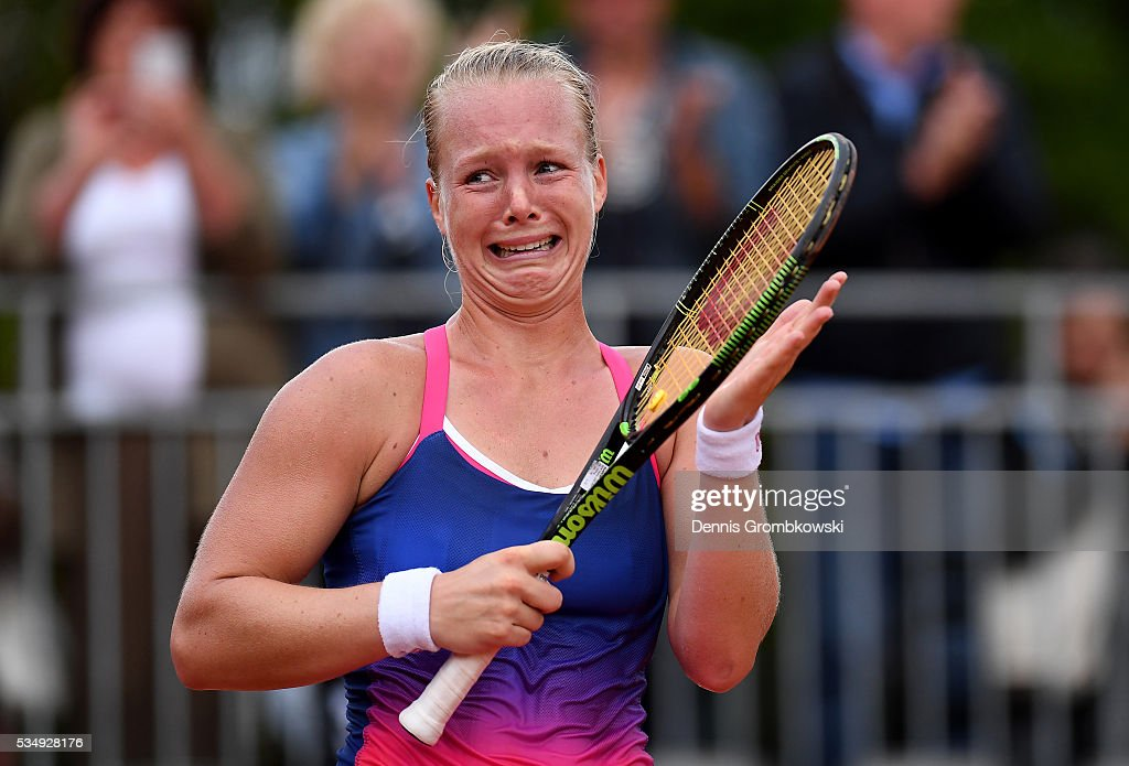 <a gi-track='captionPersonalityLinkClicked' href=/galleries/search?phrase=Kiki+Bertens&family=editorial&specificpeople=7945371 ng-click='$event.stopPropagation()'>Kiki Bertens</a> of Netherlands celebrates victory during the Ladies Singles third round match against Daria Kasatkina of Russia on day seven of the 2016 French Open at Roland Garros on May 28, 2016 in Paris, France.