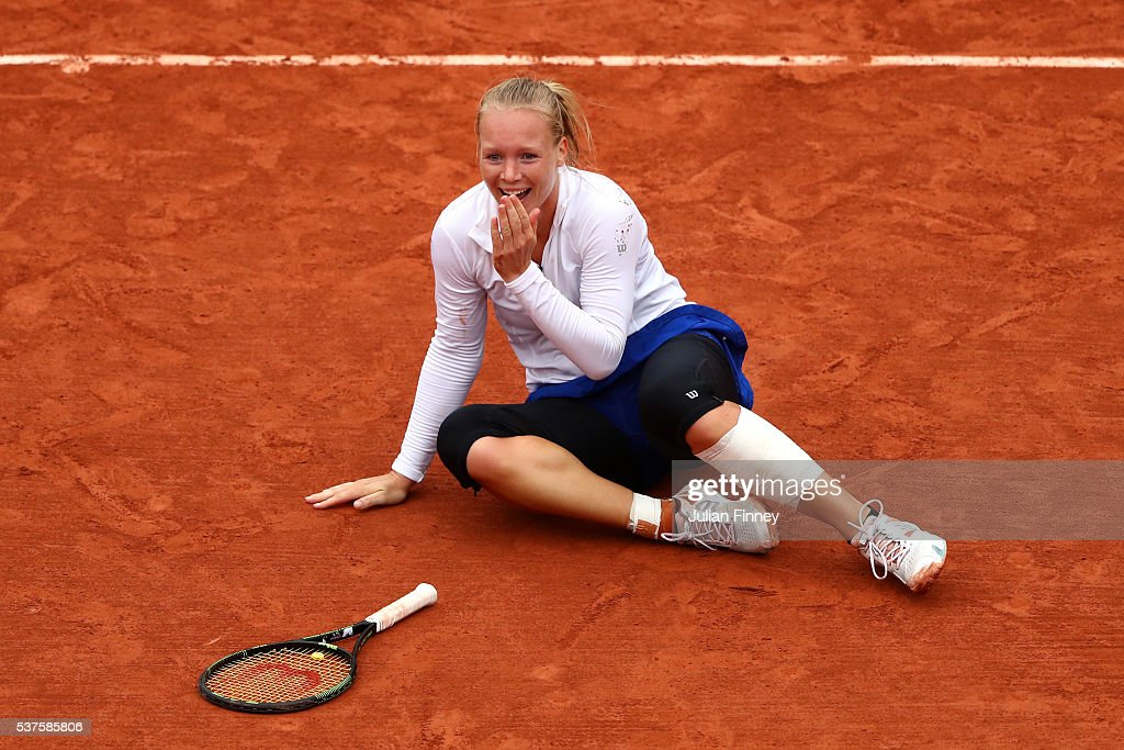 <a gi-track='captionPersonalityLinkClicked' href=/galleries/search?phrase=Kiki+Bertens&family=editorial&specificpeople=7945371 ng-click='$event.stopPropagation()'>Kiki Bertens</a> of Netherlands celebrates victory during the Ladies Singles quarter final match against Timea Bacsinszky of Switzerland on day twelve of the 2016 French Open at Roland Garros on June 2, 2016 in Paris, France.