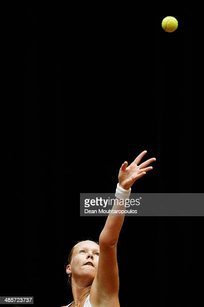 'SHERTOGENBOSCH NETHERLANDS APRIL 20 Kiki Bertens of Netherlands in action against Kurumi Nara of Japan during the Fed Cup World Group II Playoff...