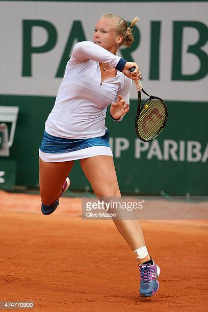 Kiki Bertens of Netherlands in action during her Women's Singles match against Svetlana Kuznetsova of Russia on day three of the 2015 French Open at...
