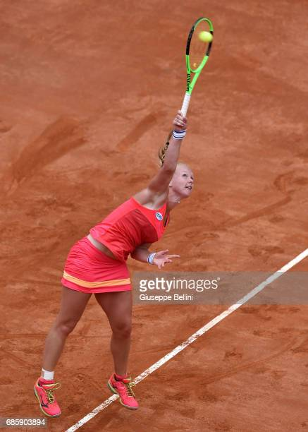 Kiki Bertens of Netherlands in action during the women's semifinal match between Simona Halep of Romania and Kiki Bertens of the Netherlands during...