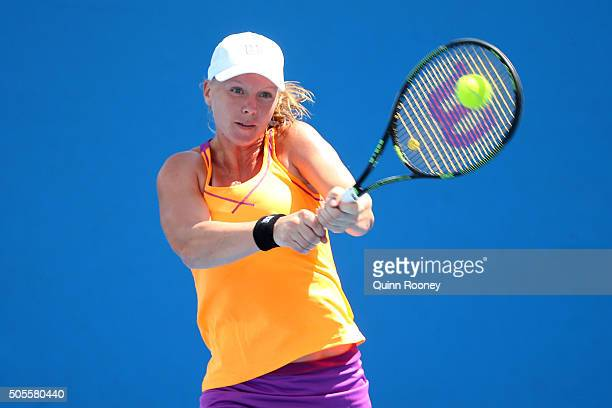 Kiki Bertens of Netherlands plays a forehand in her first round match against Laura Siegemund of Germany during day two of the 2016 Australian Open...