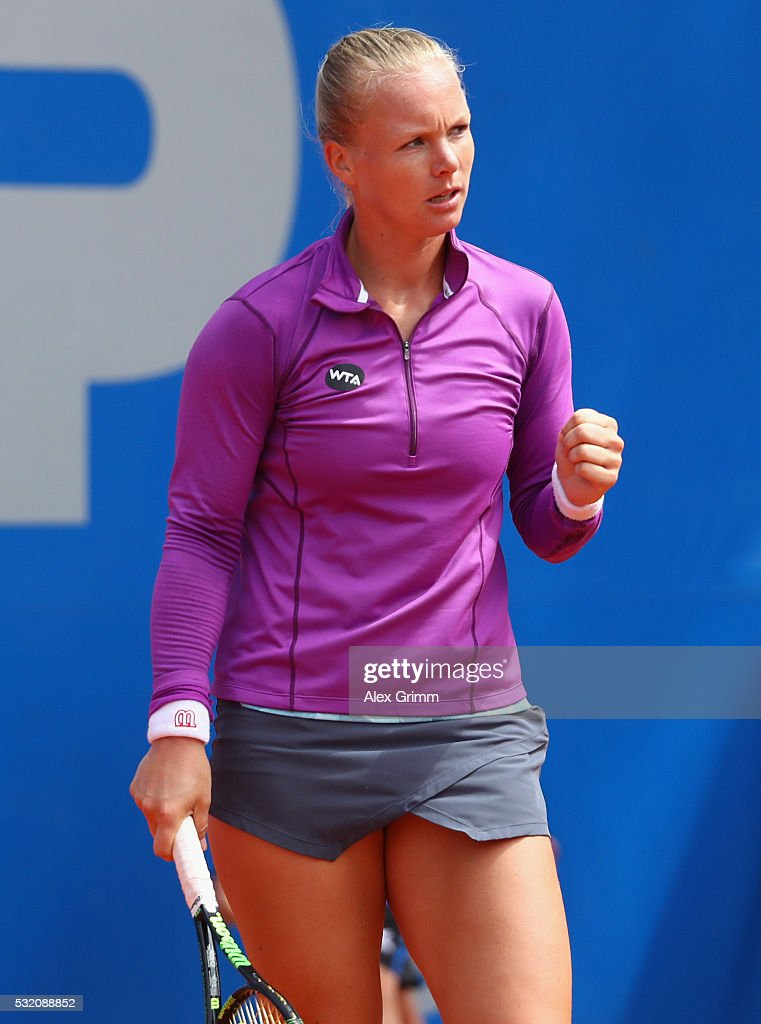 <a gi-track='captionPersonalityLinkClicked' href=/galleries/search?phrase=Kiki+Bertens&family=editorial&specificpeople=7945371 ng-click='$event.stopPropagation()'>Kiki Bertens</a> of Netherlands reacts during her match against Roberta Vinci of Italy during day five of the Nuernberger Versicherungscup 2016 on May 18, 2016 in Nuremberg, Germany.