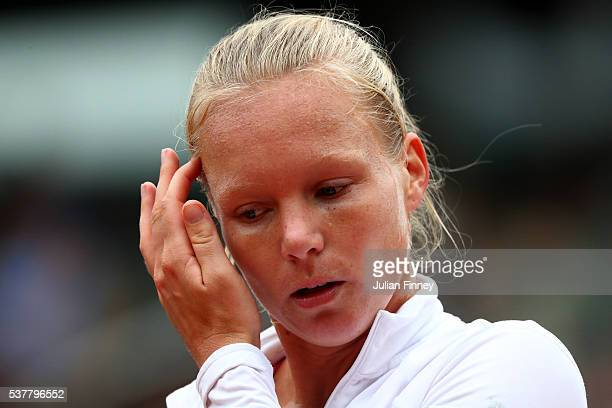 Kiki Bertens of Netherlands reacts during the Ladies Singles semi final match against Serena Williams of the United States on day thirteen of the...