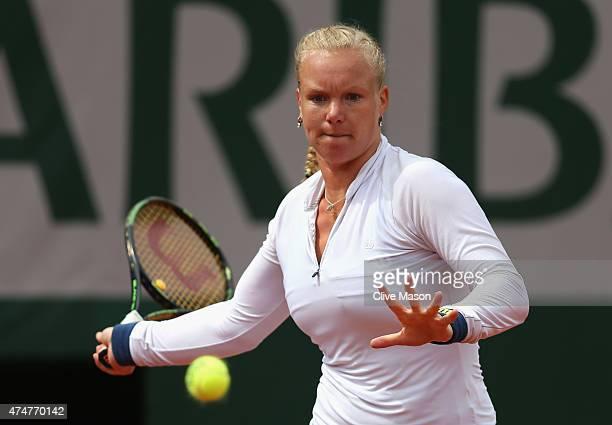Kiki Bertens of Netherlands returns a shot during her Women's Singles match against Svetlana Kuznetsova of Russia on day three of the 2015 French...