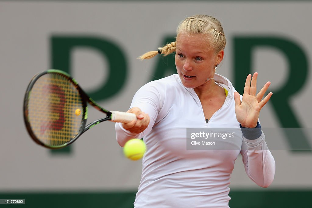 <a gi-track='captionPersonalityLinkClicked' href=/galleries/search?phrase=Kiki+Bertens&family=editorial&specificpeople=7945371 ng-click='$event.stopPropagation()'>Kiki Bertens</a> of Netherlands returns a shot during her Women's Singles match against Svetlana Kuznetsova of Russia on day three of the 2015 French Open at Roland Garros on May 26, 2015 in Paris, France.