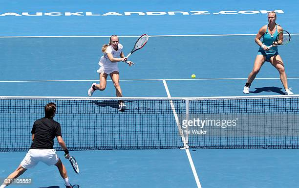 Kiki Bertens of the Netherlands and Johanna Larsson of Sweden play a return during the womens doubles final against Demi Schuurs of the Netherlands...