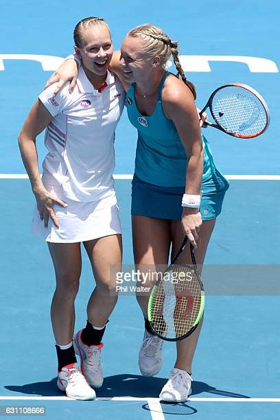 Kiki Bertens of the Netherlands and Johanna Larsson of Sweden celebrate winning the womens doubles final against Demi Schuurs of the Netherlands and...