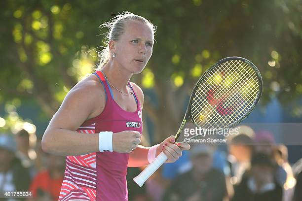 Kiki Bertens of the Netherlands celebrates a point in her first round match against Daria Gavrilova of Australia during day one of the 2015...