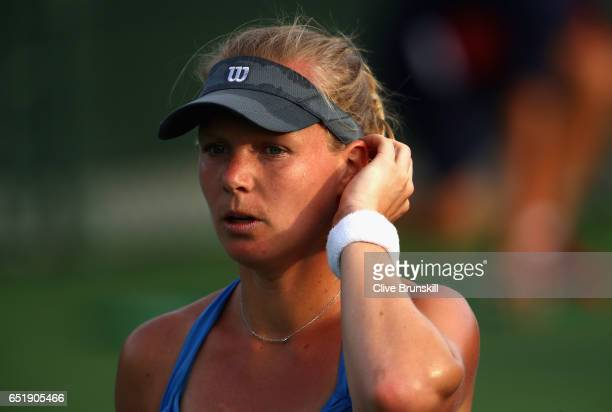 Kiki Bertens of the Netherlands deep in thought against Belinda Bencic of Switzerland during their second round match on day five of the BNP Paribas...