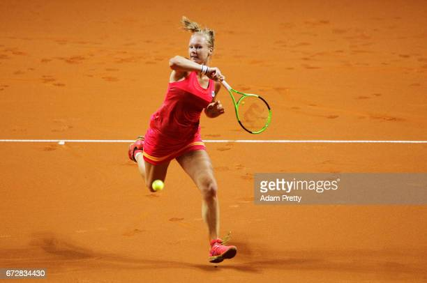 Kiki Bertens of the Netherlands hits a forehand during her match against Svetlana Kuznetsova of Russia during the Porsche Tennis Grand Prix at...