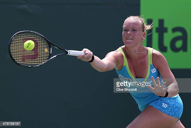 Kiki Bertens of the Netherlands plays a forehand against Sam Stosur of Australia during their second round match during day 4 at the Sony Open at...