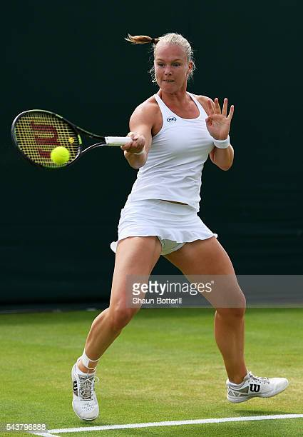 Kiki Bertens of The Netherlands plays a forehand during the Ladies Singles second round match against Mona Barthel of Germany on day four of the...