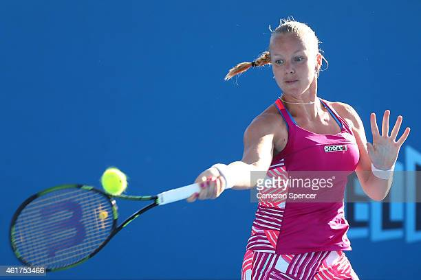 Kiki Bertens of the Netherlands plays a forehand in her first round match against Daria Gavrilova of Australia during day one of the 2015 Australian...