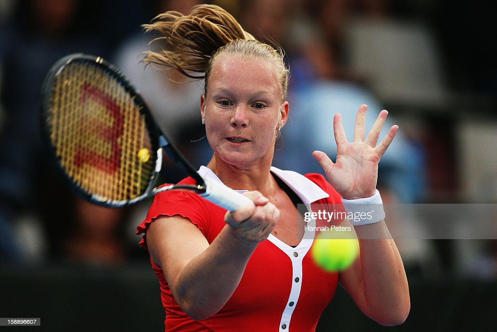 <a gi-track='captionPersonalityLinkClicked' href=/galleries/search?phrase=Kiki+Bertens&family=editorial&specificpeople=7945371 ng-click='$event.stopPropagation()'>Kiki Bertens</a> of the Netherlands plays a forehand in her quarter final match against Jamie Hampton of USA during day four of the 2013 ASB Classic at ASB Arena on January 3, 2013 in Auckland, New Zealand.