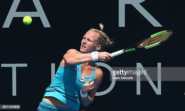 Kiki Bertens of the Netherlands plays a forehand in her second round match against Galina Voskoboeva of Kazakhstan during day two of the 2017 Hobart...