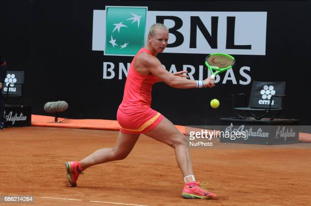 Kiki Bertens of the Netherlands plays a shot during her semi final match against Simona Halep of Romania in The Internazionali BNL d'Italia 2017 at...