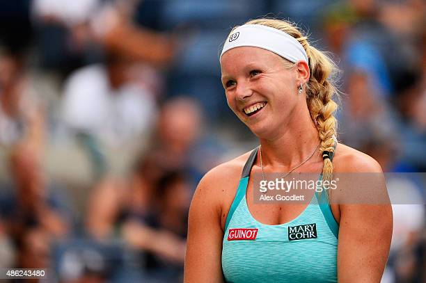 Kiki Bertens of the Netherlands reacts against Serena Williams of the United States during their Women's Singles Second Round match on Day Three of...