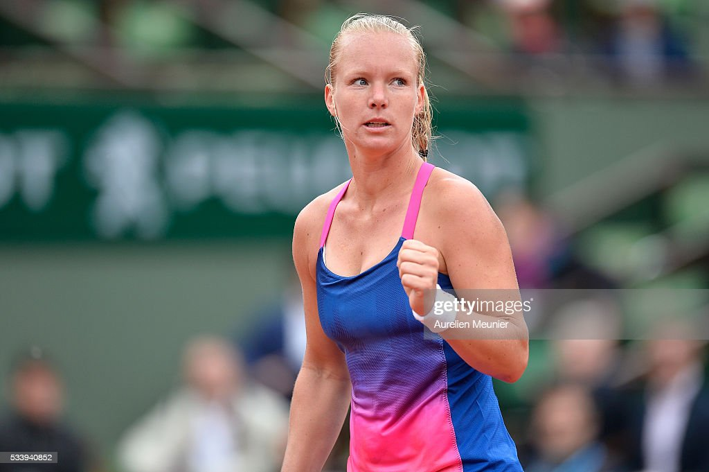 <a gi-track='captionPersonalityLinkClicked' href=/galleries/search?phrase=Kiki+Bertens&family=editorial&specificpeople=7945371 ng-click='$event.stopPropagation()'>Kiki Bertens</a> of the Netherlands reacts during her women's single first round match against Angelique Kerber of Germany at Roland Garros on May 24, 2016 in Paris, France.