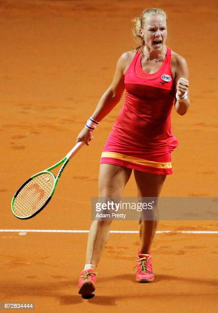 Kiki Bertens of the Netherlands reacts to a point in her match against Svetlana Kuznetsova of Russia during the Porsche Tennis Grand Prix at Porsche...