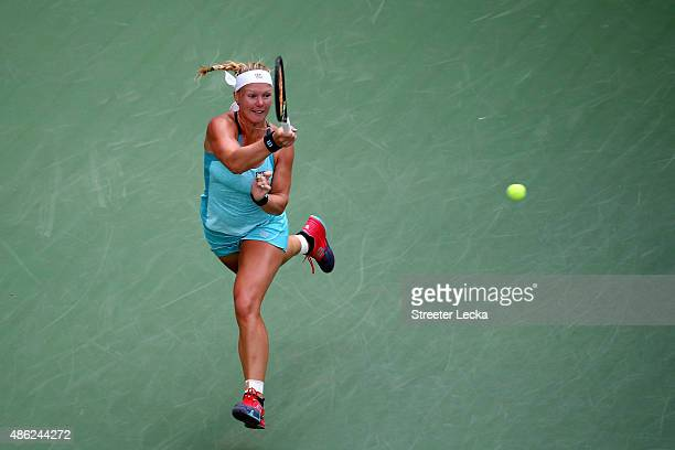 Kiki Bertens of the Netherlands returns a shot against Serena Williams of the United States during their Women's Singles Second Round match on Day...