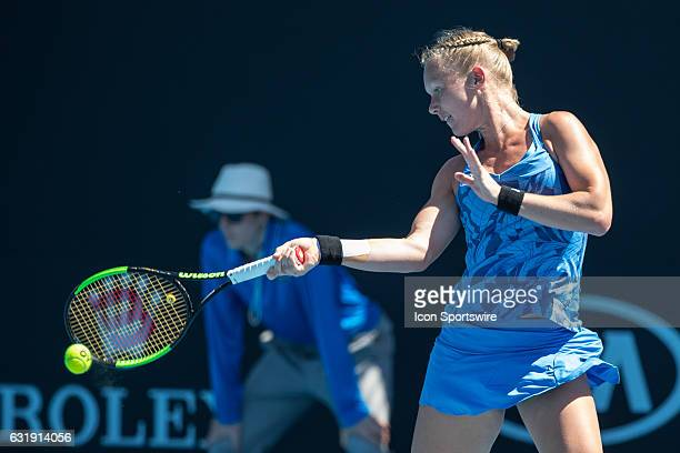 Kiki Bertens of the Netherlands returns the ball during the first round of the 2017 Australian Open on January 16 at Melbourne Park Tennis Centre in...