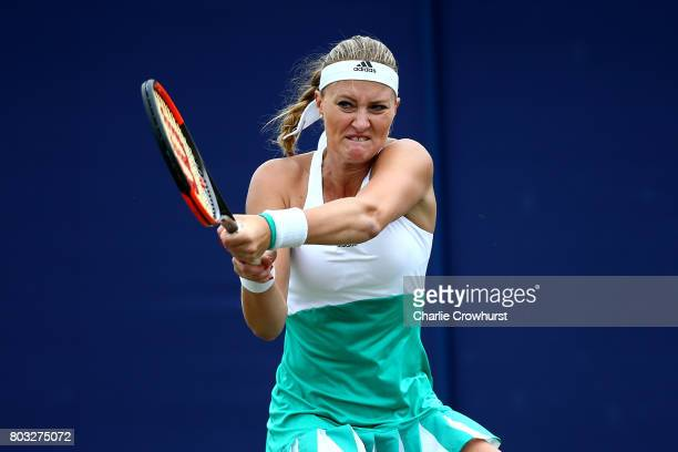 Kiki Mladenovic of France in action during her women singles match against Svetlana Kuznetsova of Russia during day five of the Aegon International...