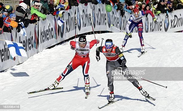 US Kikkan Randall beats Norway's Marit Bjorgen in the ladies World Cup sprint event at the Lahti Ski Games on March 9 2013 AFP PHOTO /LEHTIKUVA /...